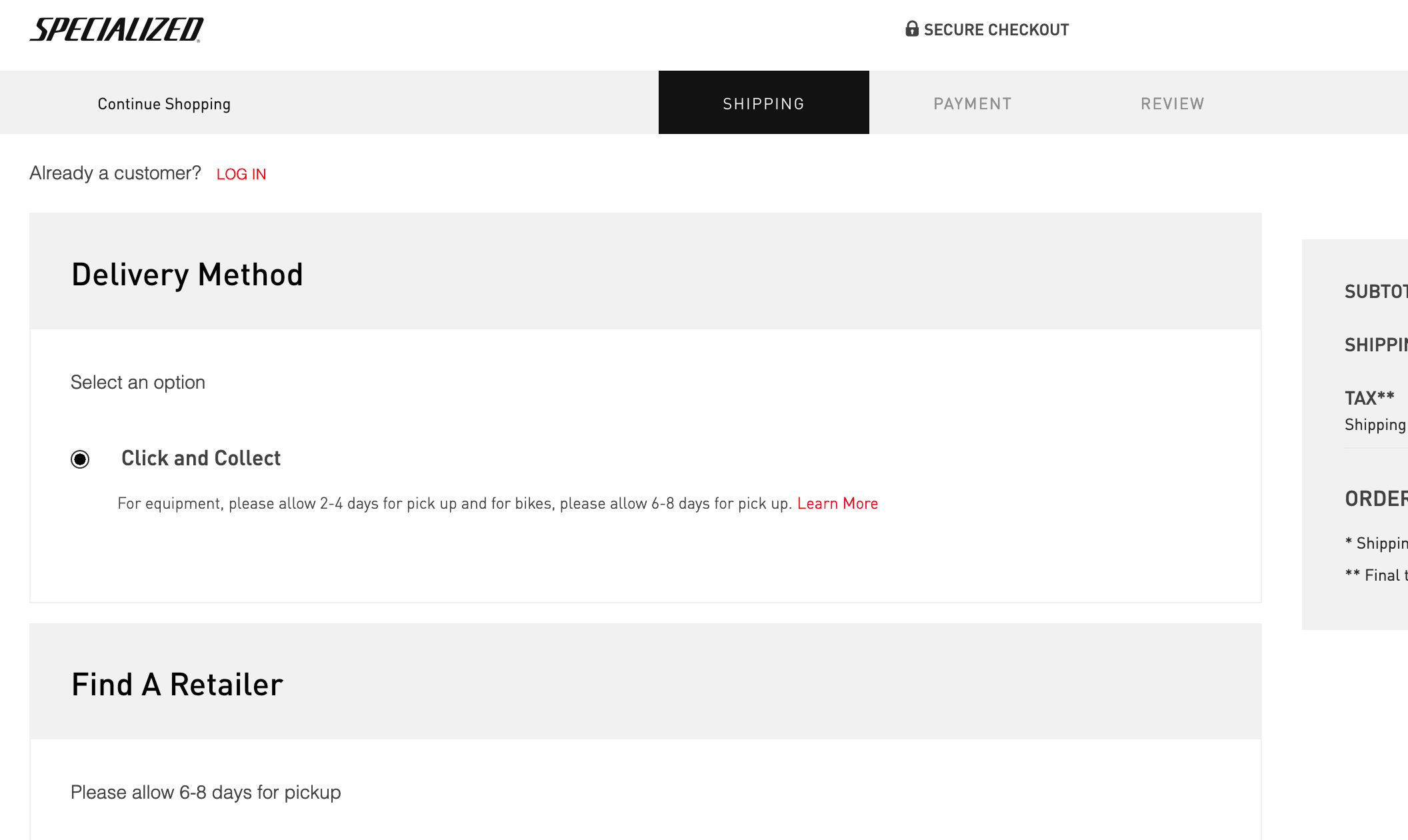Specialized Click & Collect Allows Online Bike Purchases… Kinda